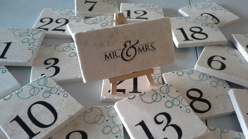 Marble tile table numbers