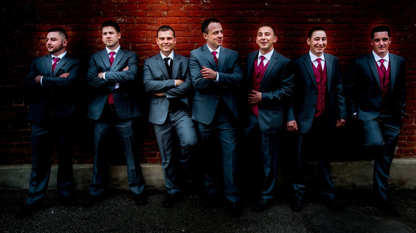 Red groomsmen accessories