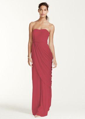 David's Bridal Style W10482Long Strapless Mesh Dress with Side Draping, David's Bridal
