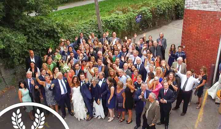 Drone picture of a wedding