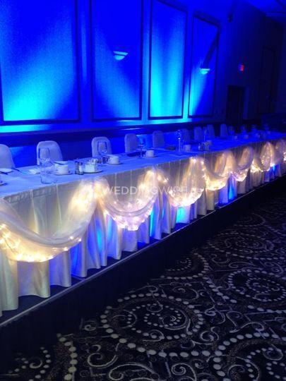 Head Table Blue Uplighting