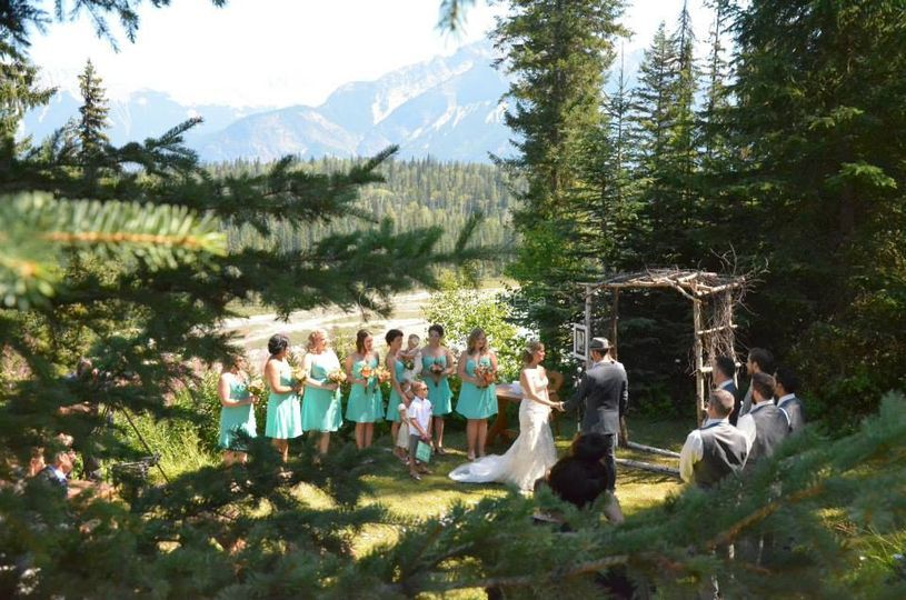 Golden, BC wedding ceremony, mountains, rustic