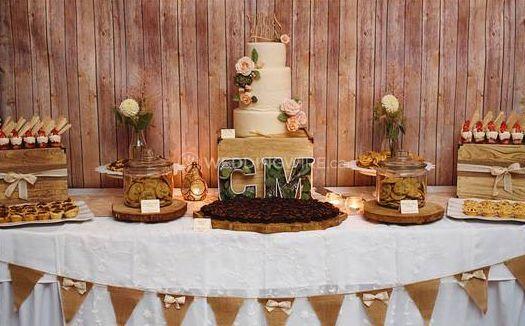 Custom wedding cake and dessert display