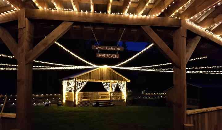 Mingling Deck lit up at night