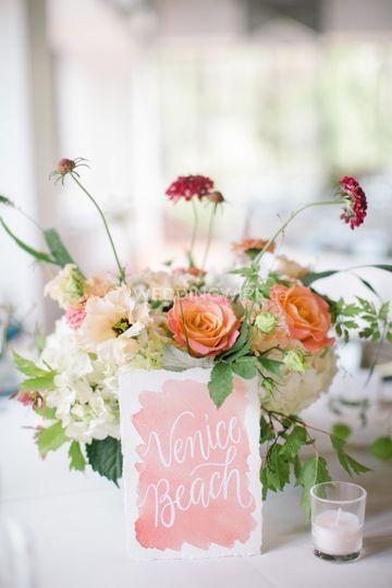 Centre de table et fleurs