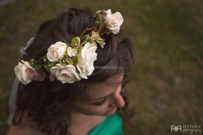 Curly Willow Spray Rose and Hydrangea Blossom Floral Crown.jpg