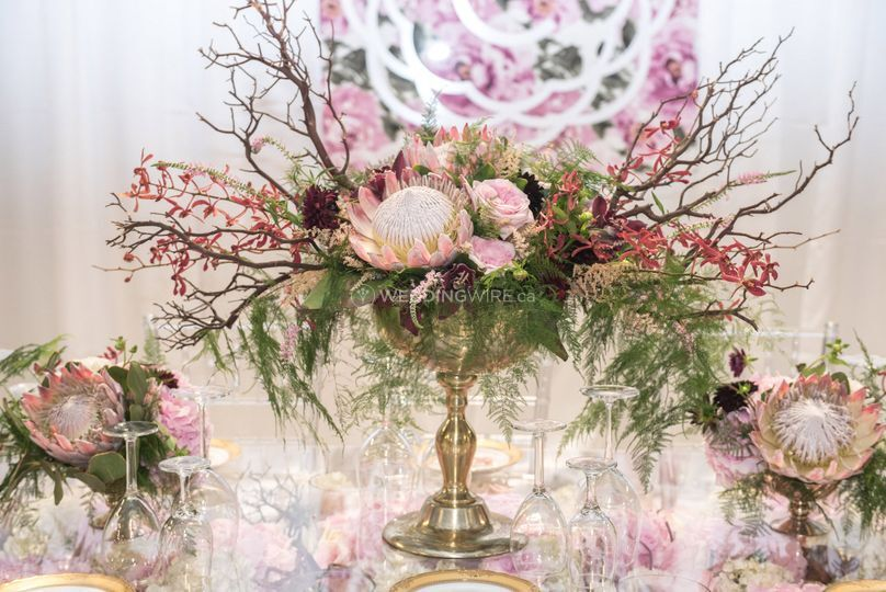 Gold and Blush Pink Centepiece with Manzanita and King Protea.jpg
