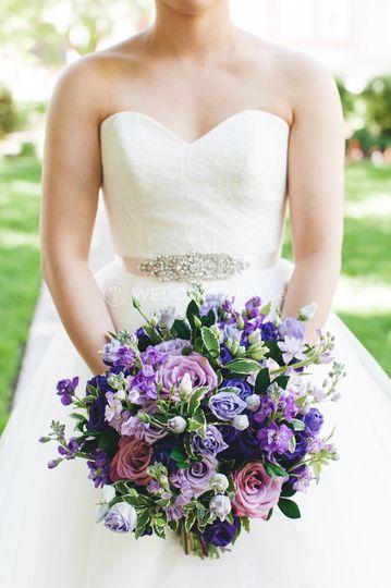 Wild purple bridal bouquet