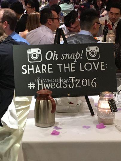 Utilize your wedding hashtag!