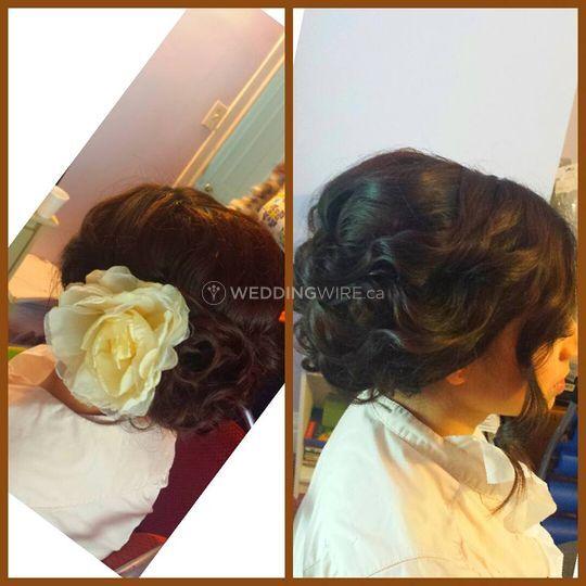 Loose curls updo