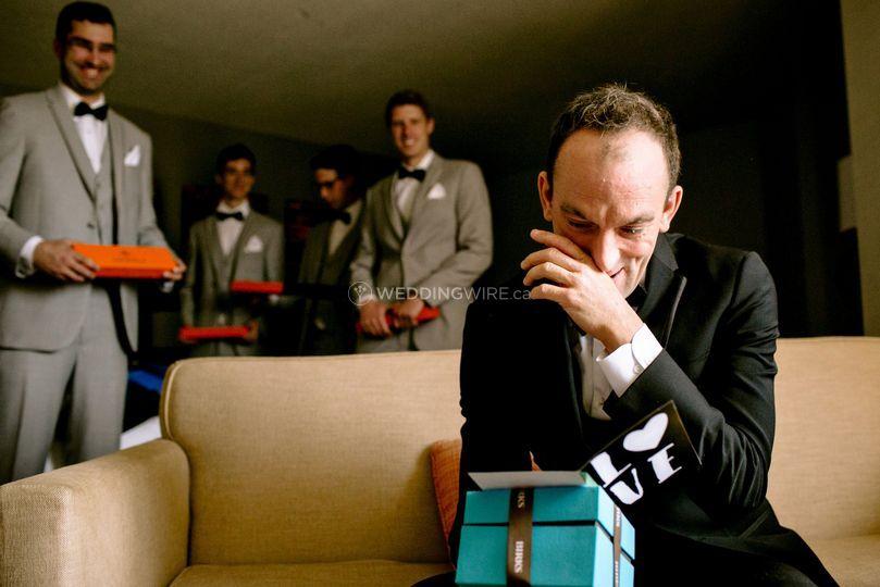 Emotional groom.