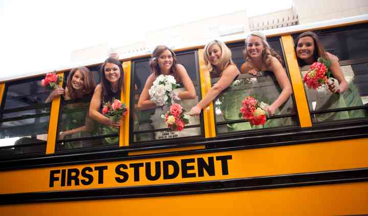 Celebrating on the bus