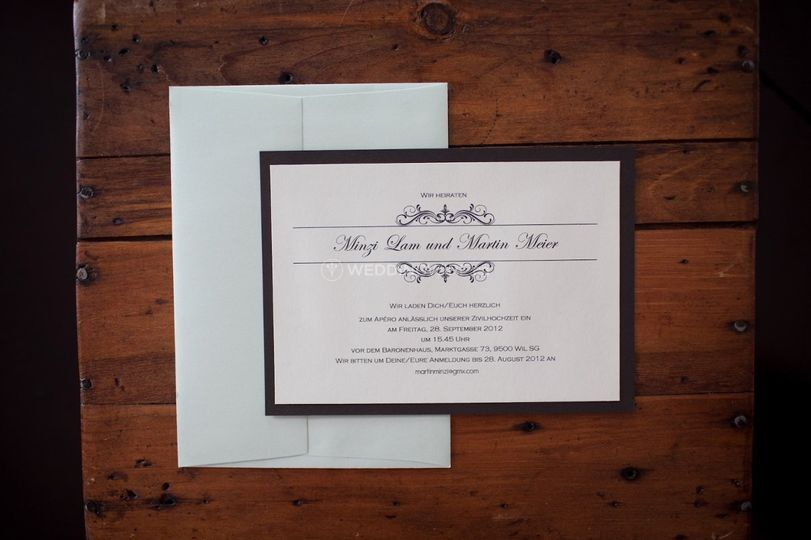 Cream and brown invitation with mint envelope