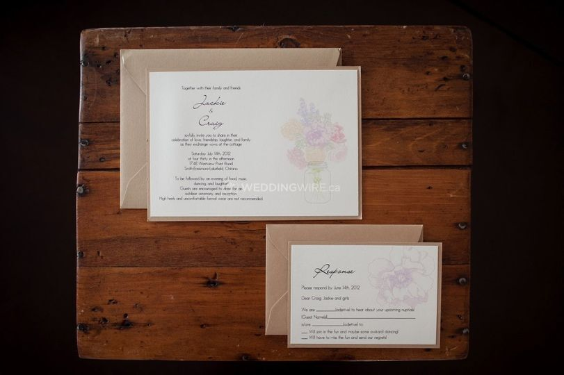 Cream and light brown panel invitation with flower bouquet