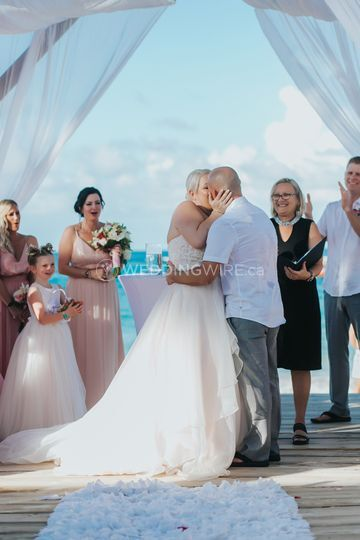 First Kiss as a wedded couple