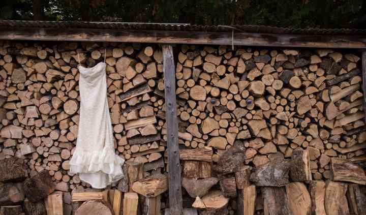 Dress at woodpile