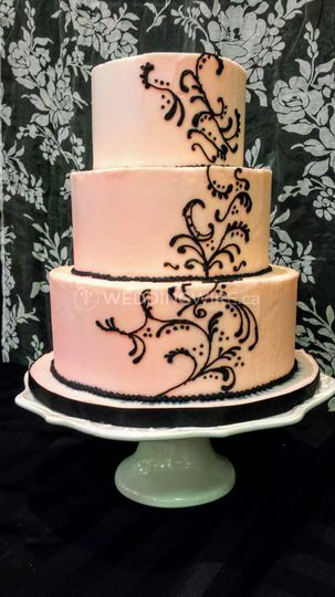 Pink with black scroll work