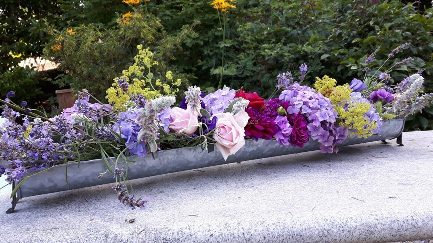 Long low table flowers
