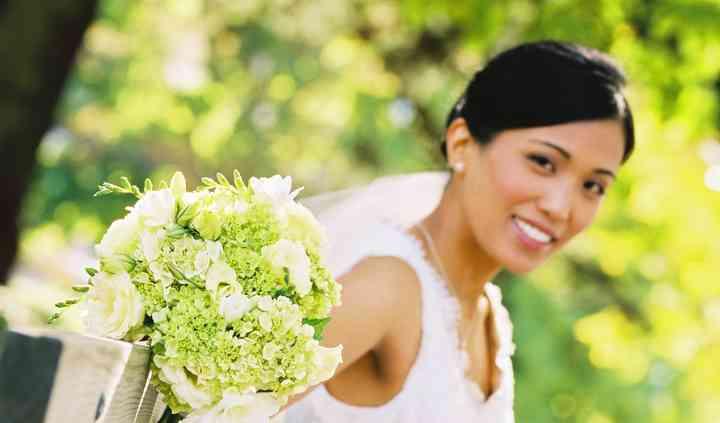 Crisp white hydrangea bouquet