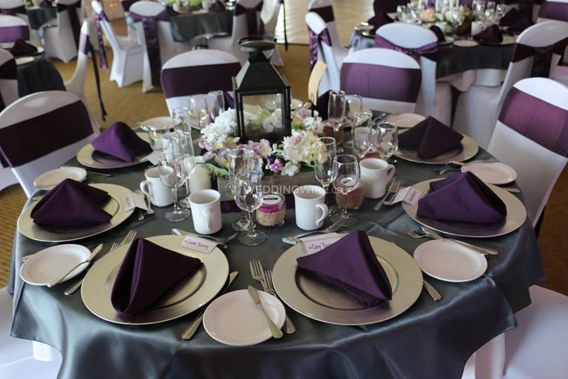 Pewter and eggplant table