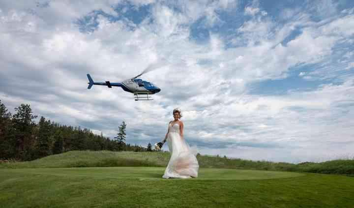 Bride and Helicopter arrival