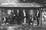 Derek & groomsmen by shed