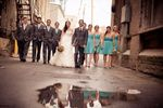 Wedding Party walking in alley