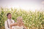 Bride & groom on dirt bike