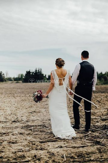 Beautiful Wedding Dress with Pictured with groom