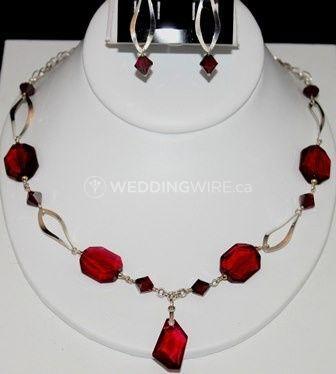 20006 - satin Ruby fuchsia Swarovski crystal  sterling silver necklace set.JPG