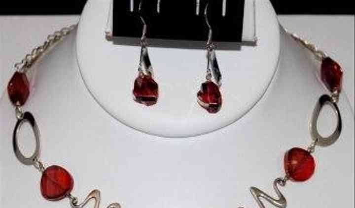 20001 - Dazzle sterling silver & red magma Swarovski crystal necklace set.JPG