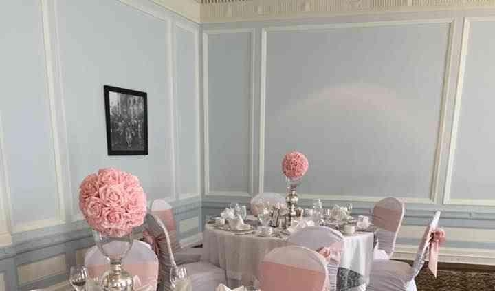 Periwinkle blue-blush wedding