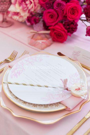 Pink Floral Menu