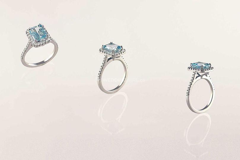 14k aquamarine halo ring