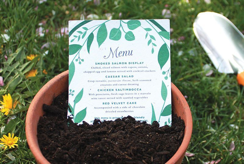 Seed Paper Wedding Menus