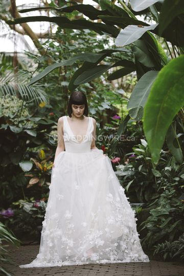 An Alexandra Grecco tulle gown