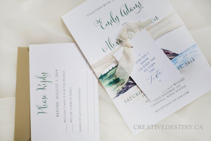 Blomidon Nova Scotia watercolour painted Wedding Invitation 25