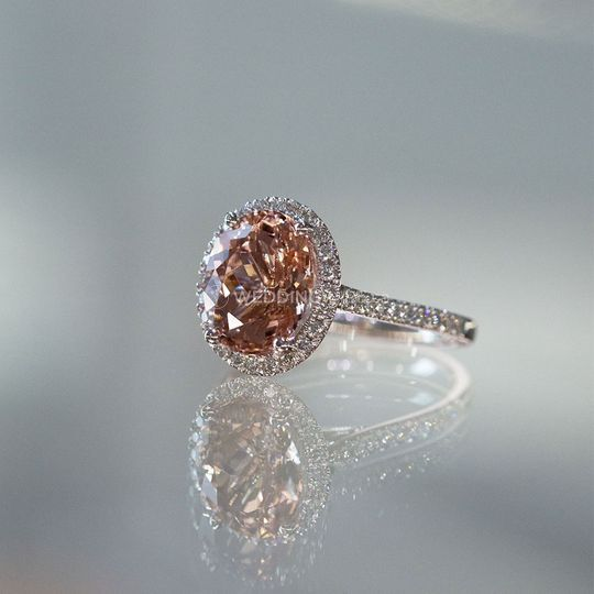 Morganite Halo Engagement Ring