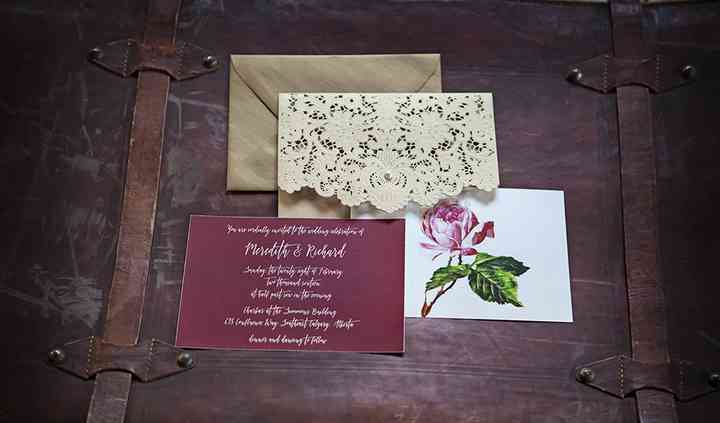 Lasercut vintage rose invite