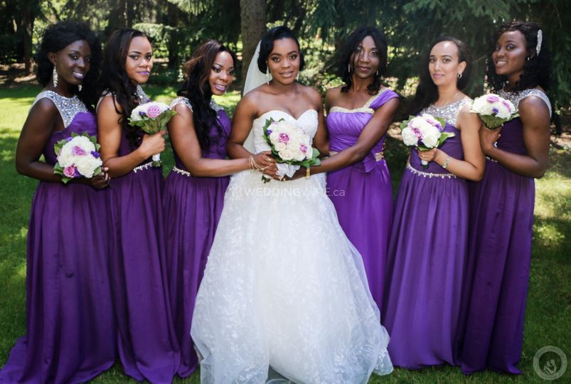Shot of bride and bridesmaids