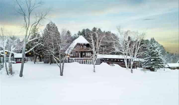 Resort from lake in winter