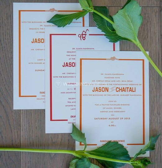 Invites for 3 wedding events
