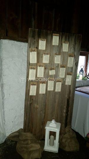 Seating plan on barn door