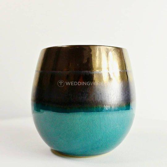 Bronze + Turquoise Zen Candle