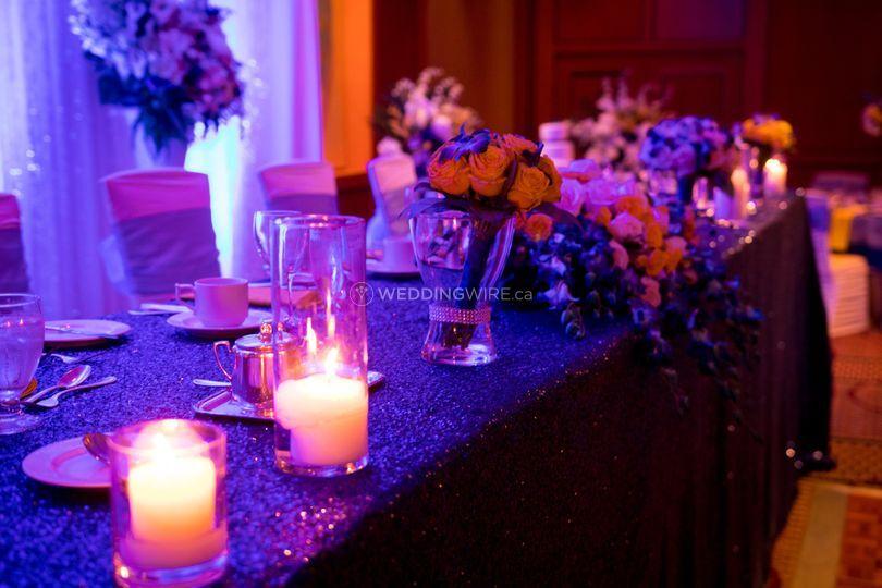 Votive lights on head table