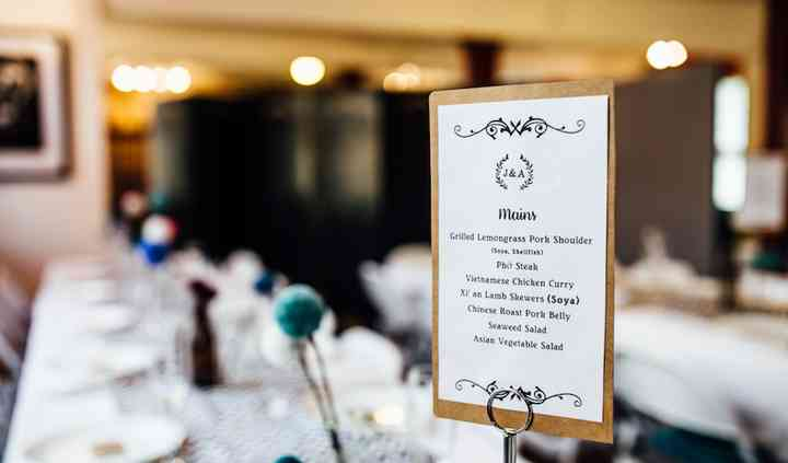 Sample menu from a wedding