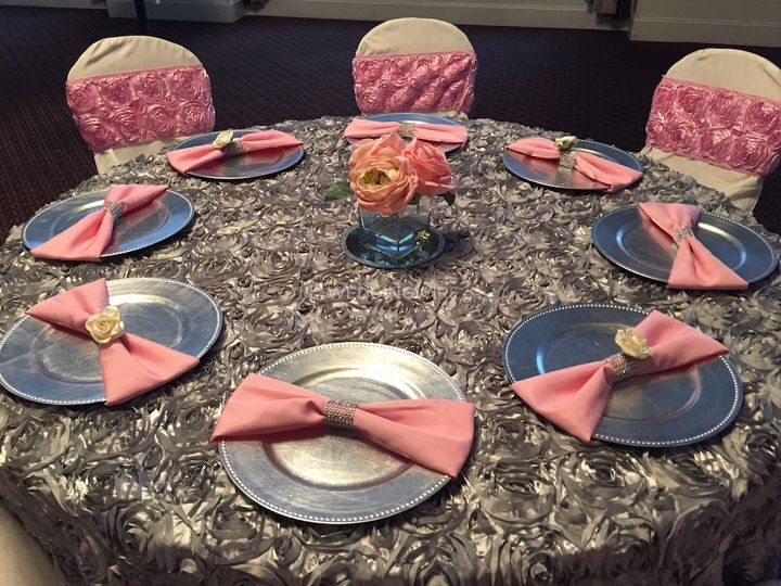 Pink and silver table setup