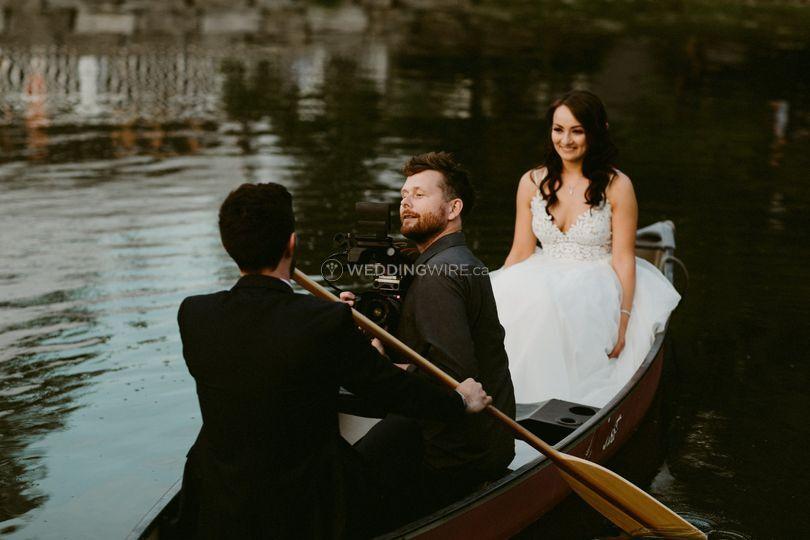 Filming in a canoe!