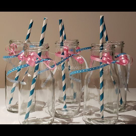 Pink and Blue Milk Bottles