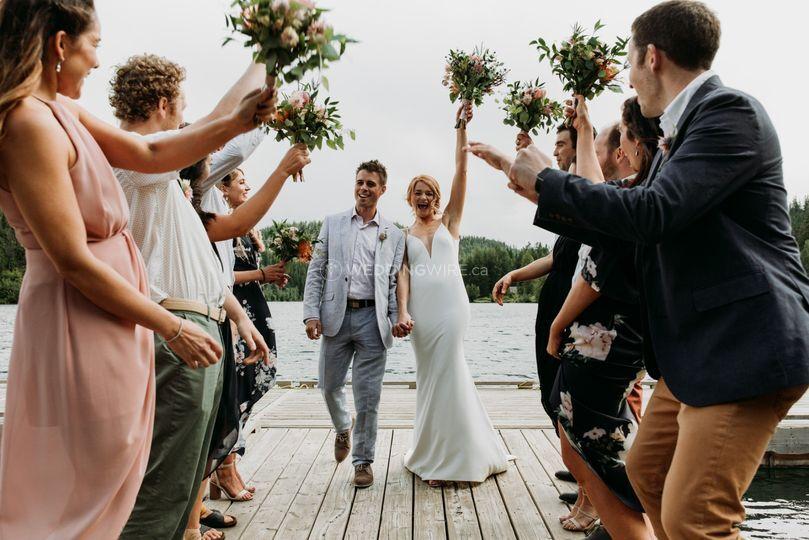 Wedding party on Tyax's dock